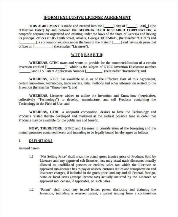Software License Agreement - 7+ Free Pdf , Doc DownloadSample - sample licensing agreement
