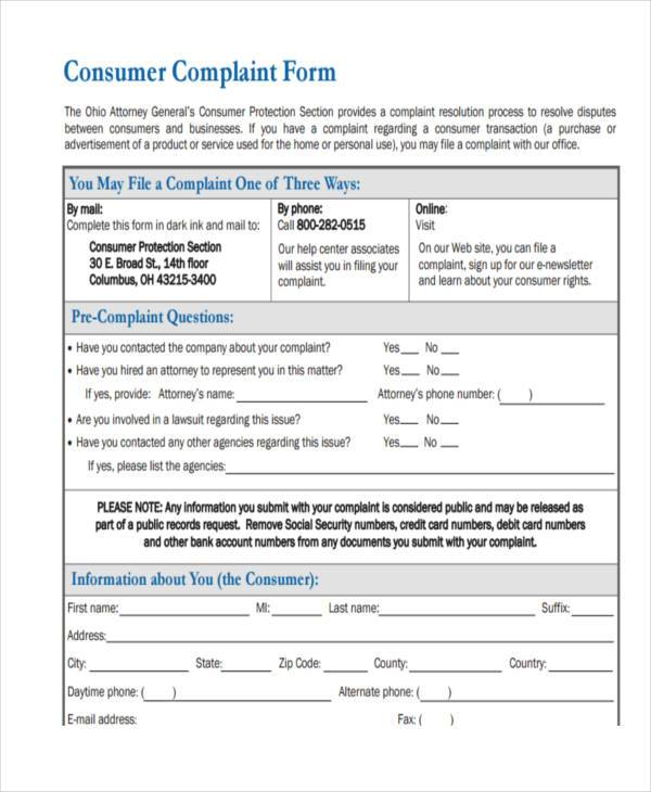 8+ Customer Complaint Form Samples - Free Sample, Example, Format