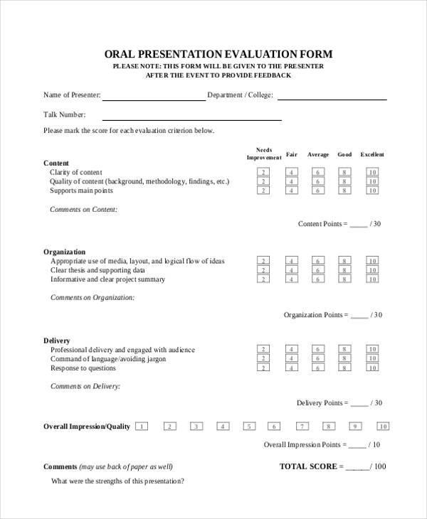 Sample Oral Presentation Evaluation Forms - 7+ Free Documents in - sample presentation evaluation form example