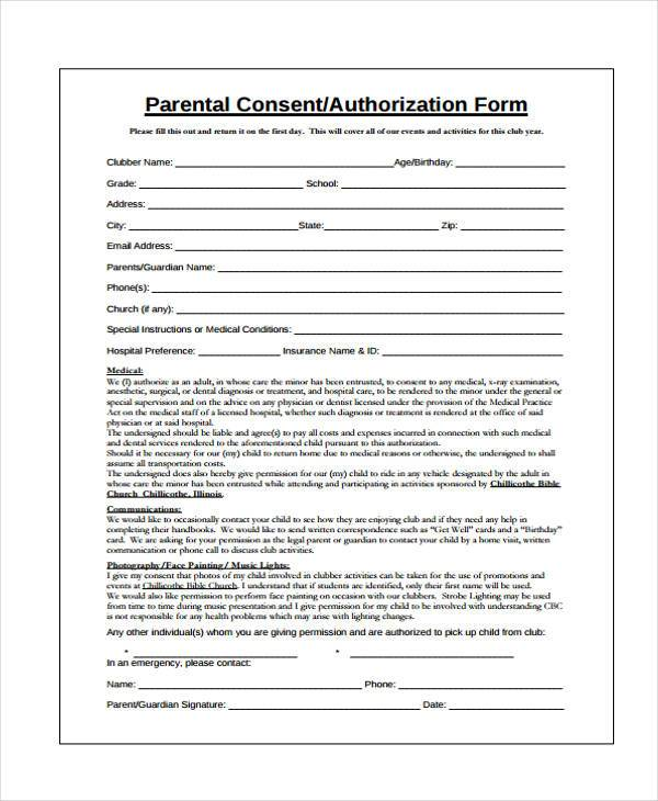 Free Consent Form Samples - parent consent forms