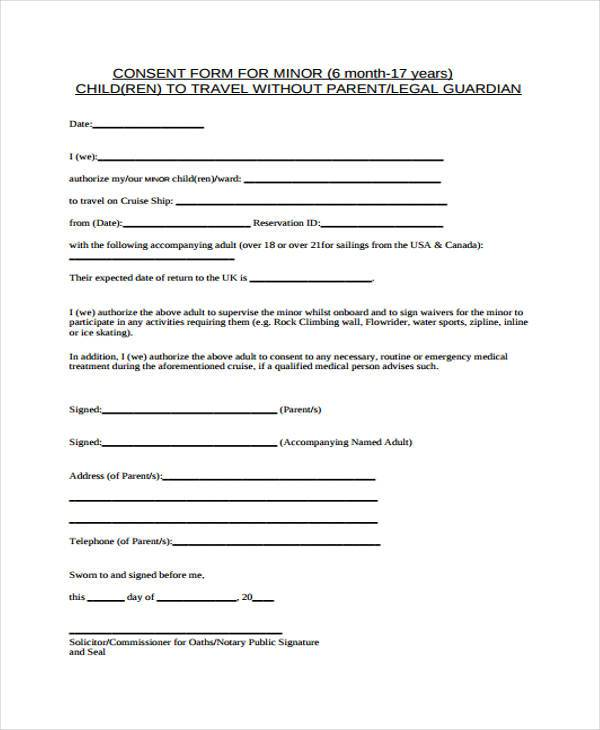 Consent Forms in PDF - parental consent to travel form