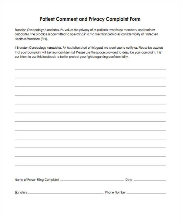 8+ Privacy Complaint Form Samples - Free Sample, Example Format - sample patient complaint form