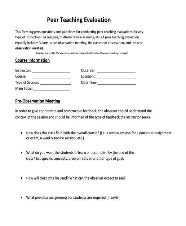 ... Sample Teacher Evaluation Form Example Evaluated By Date Reviewed    Meeting Feedback Form Template ...