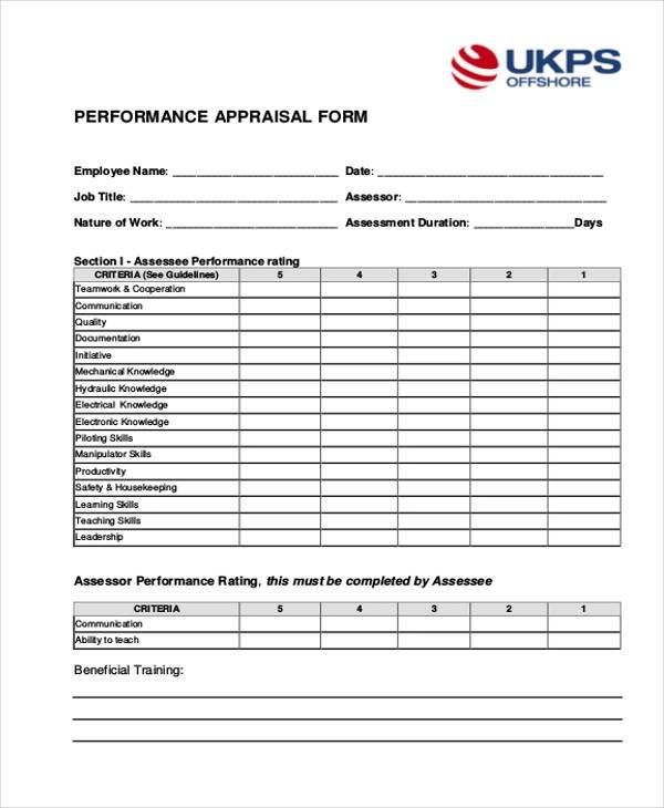 performance appraisal forms format in excel