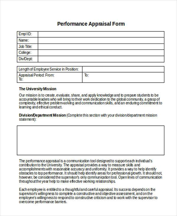 Appraisal Forms in Doc - appraisal form in doc