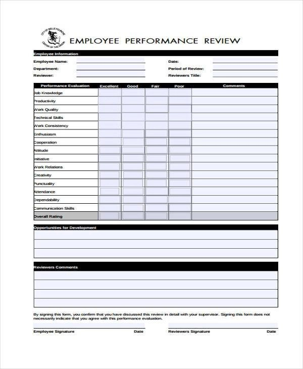 Sample Performance Review Forms For Employee | Tips To Write A