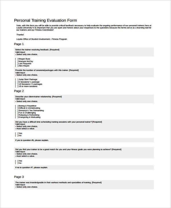 8+ Fitness Evaluation Form Sample - Free Sample, Example - sample presentation evaluation form example