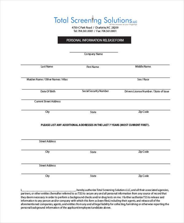 8+ Information Release Form Samples - Free Sample, Example Format