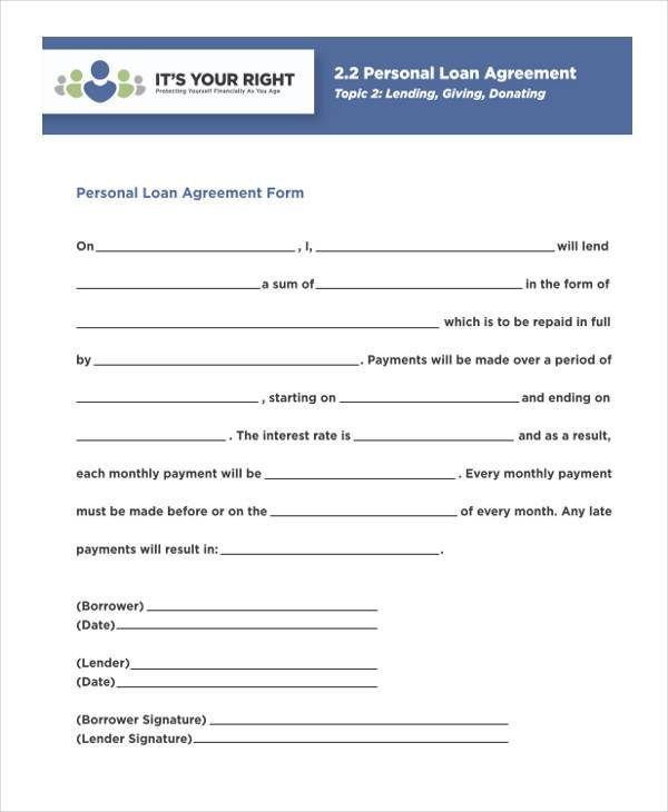 Personal Agreement Form Samples - 9+ Free Documents in PDF - free personal loan agreement form