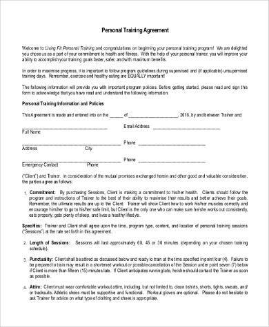 sample personal training contract