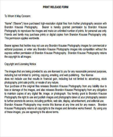 Photographer Release Form Samples - 7+ Free Documents in Word, PDF - photography release form