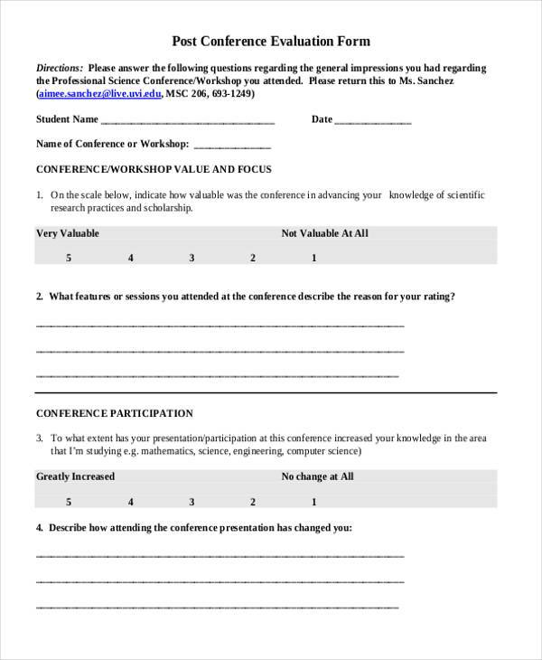 7+ Conference Evaluation Form Samples - Free Sample, Example ,Format