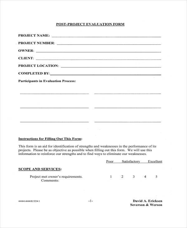 8+ Project Evaluation Form Samples - Free Sample, Example Format - project evaluation