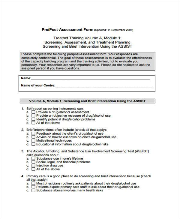 Training Assessment Form. Sample Evaluation Form For Training