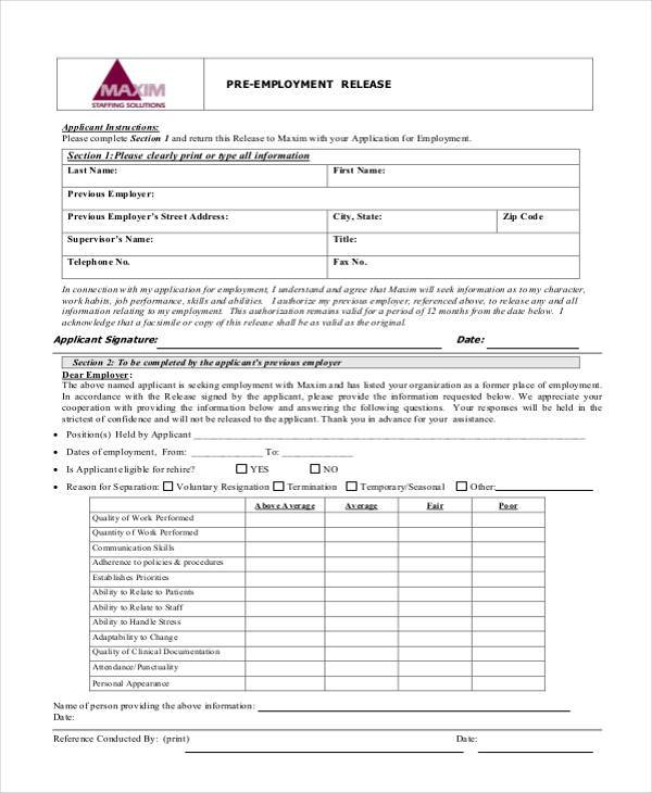 Sample Employment Release Forms - 9+ Free Documents in PDF - employment reference form template