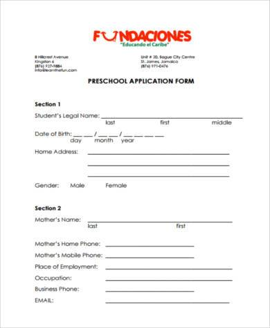 8+ Sample School Application Form - Example Format Download