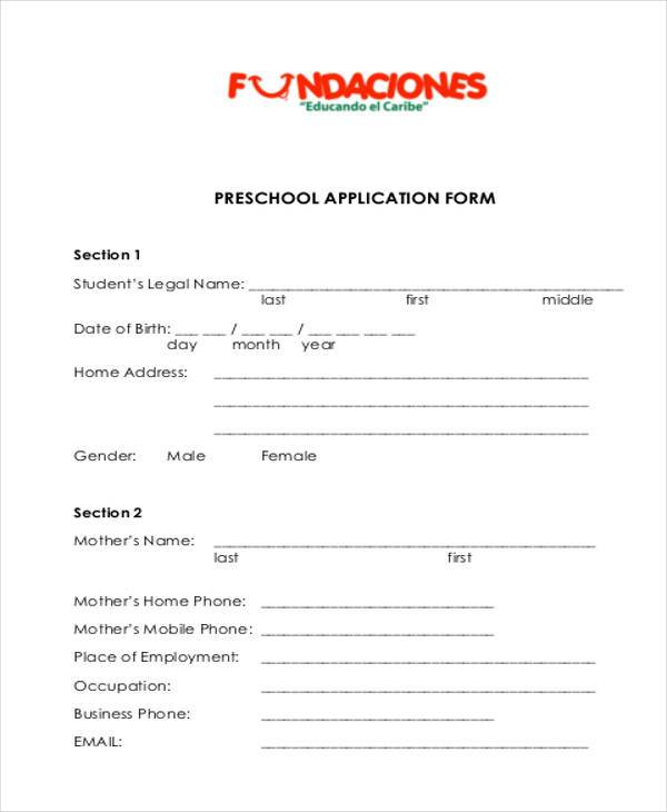 School Application Form Samples - 7+ Free Documents in Word, PDF - format of admission form