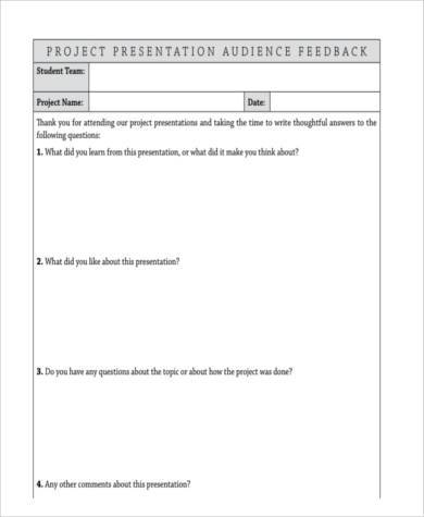 Amazing 8+ Presentation Feedback Form Samples Free Sample, Example