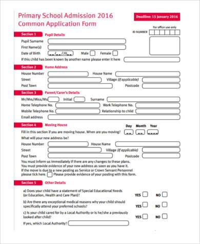 8+ Sample School Application Form - Example Format Download - sample medical application form