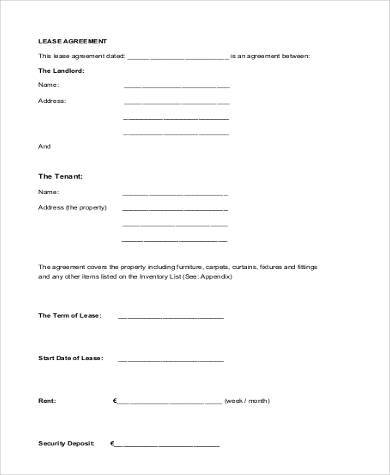 Printable Agreement Forms - 23+ Free Documents in Word, PDF - blank lease agreement