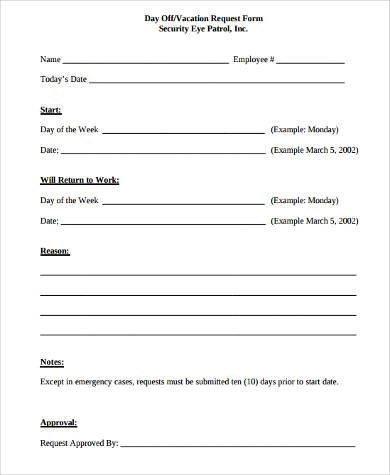 Sample Day Off Request Forms - 9+ Free Documents in Word, PDF - request off forms