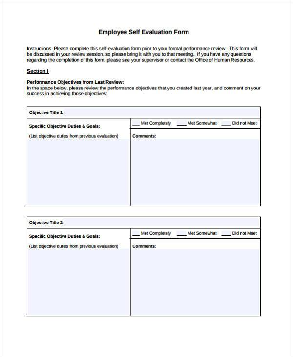7+ Employee Self-Evaluation Form Samples - Free Sample, Example - performance self evaluation form