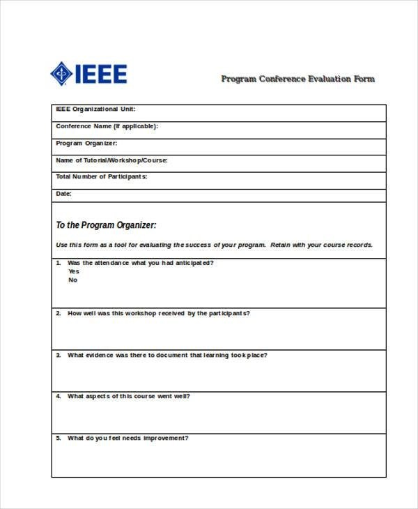 Conference Evaluation Form In Word 17+ sample student evaluation - evaluation form in word