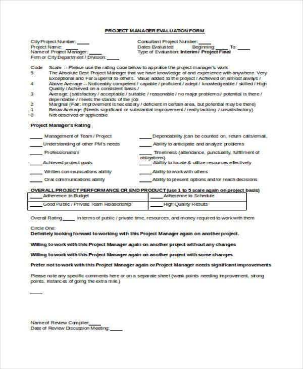 Sample Manager Evaluation Forms - 10+ Free Documents in Word, PDF - sample manager evaluation