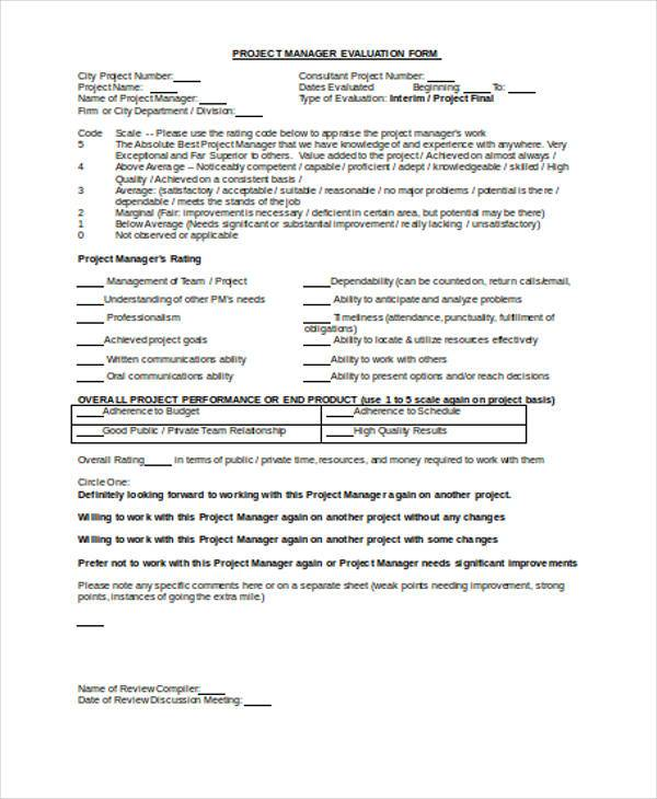 7+ Manager Evaluation Form Samples - Free Sample, Example Format