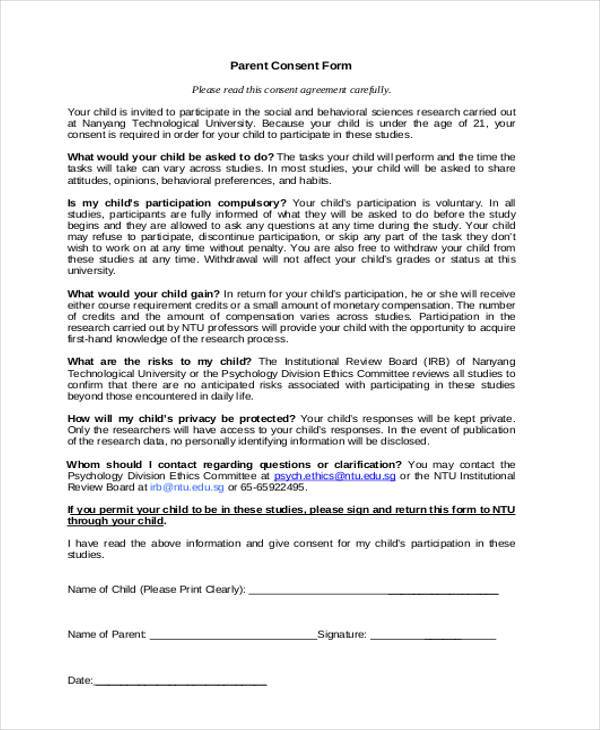 Sample Psychology Consent Forms - 7+ Free Documents in Word, PDF - parent consent forms