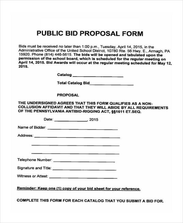 Bid Proposal 13 Best Images Of Printable Construction Bid Forms - bid proposals