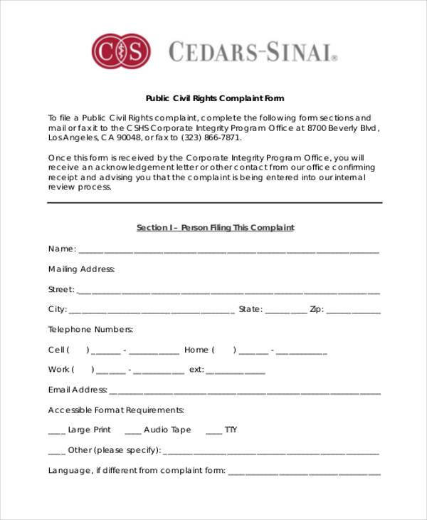 8+ Staff Complaint Form Samples - Free Sample, Example Format