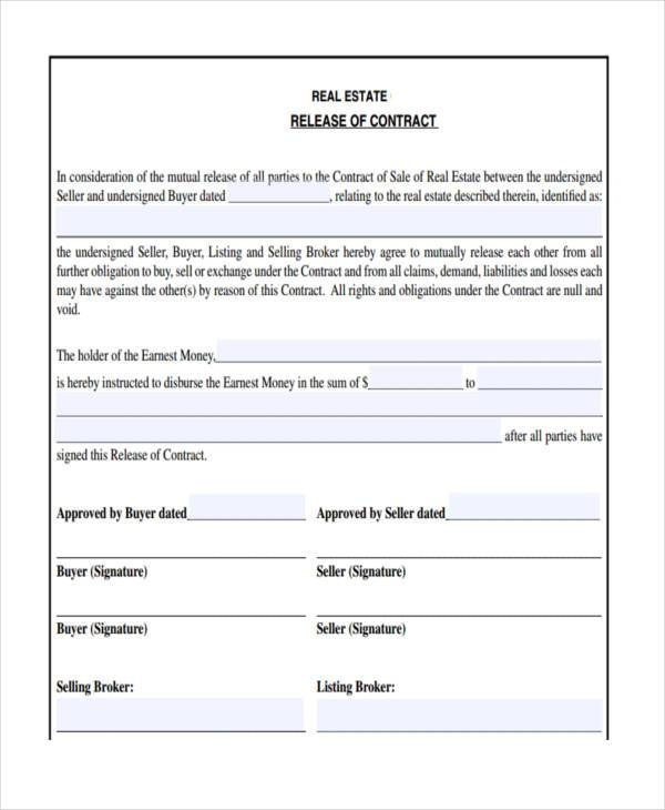 7+ Real Estate Contract Form Samples - Free Sample, Example Format - contract release form