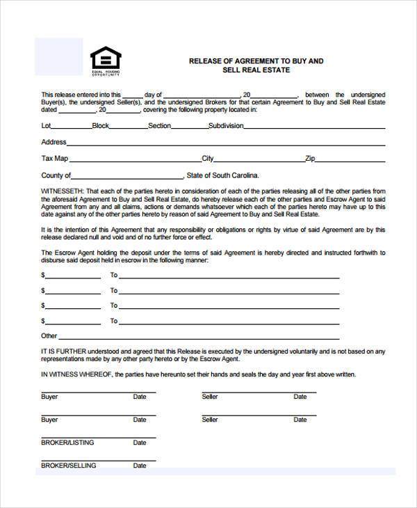 8+ Real Estate Release Form Samples - Free Sample, Example Format - contract release form