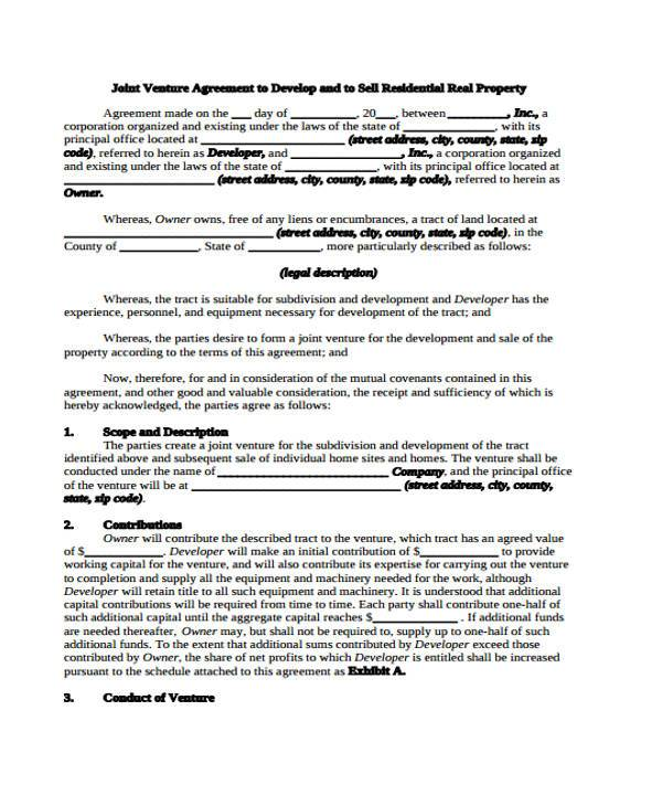 Sample Joint Venture Agreements Joint Venture Contract Template - joint partnership agreement template