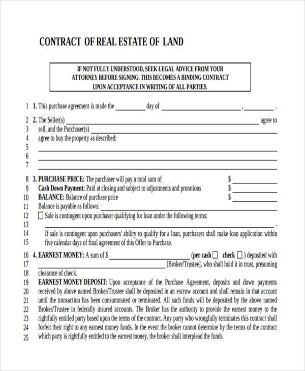 Land Contract Template  BesikEightyCo