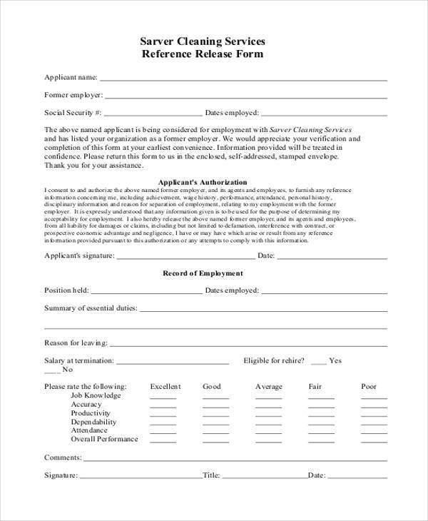 Sample Reference Release Forms - 9+ Free Documents in Word, PDF - reference release form