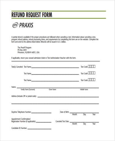 Sample Refund Request Forms - 8+ Free Documents in Word, PDF