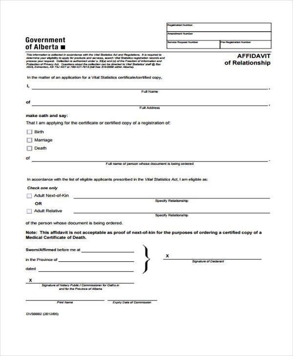 Sample Relationship Affidavit Forms - 8+ Free Documents in Word, PDF - affidavit form in pdf