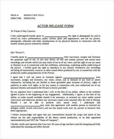 Sample Release Agreement Forms - 8+ Free Documents in Word, PDF - actor release form