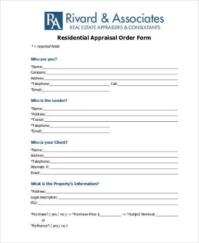 Sample Residential Appraisal Forms -8+ Free Documents in PDF - appraisal order form
