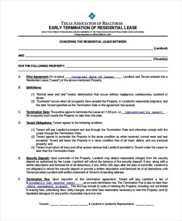 8+ Residential Lease Agreement Form Samples - Free Sample, Example - lease termination agreement