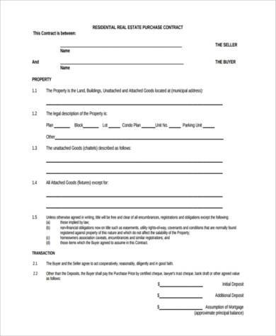 Real Estate Purchase Form Samples - 8+ Free Documents in Word, PDF - home purchase agreement