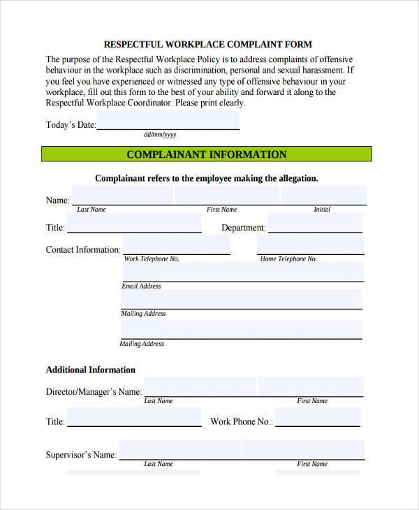 workplace form - Barebearsbackyard - free customer complaint form template