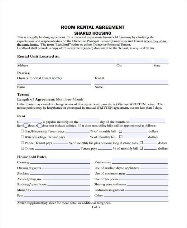 8+ Rent Contract Form Samples - Free Sample, Example Format Download - sample room for rent contract