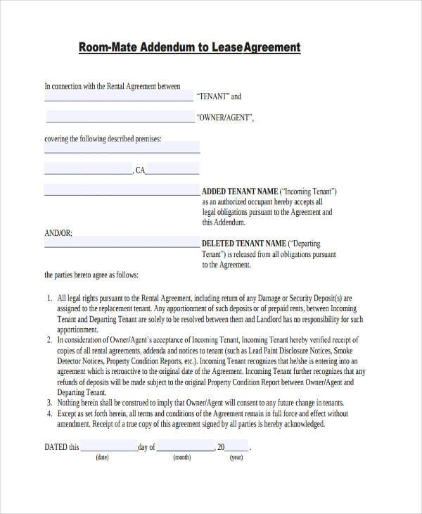 8+ Roommate Agreement Form Samples - Free Sample, Example Format - roommate rental agreement