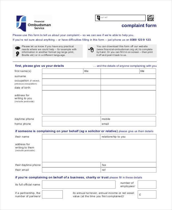 Sample Banking Ombudsman Complaint Form Banking Ombudsman Complaint