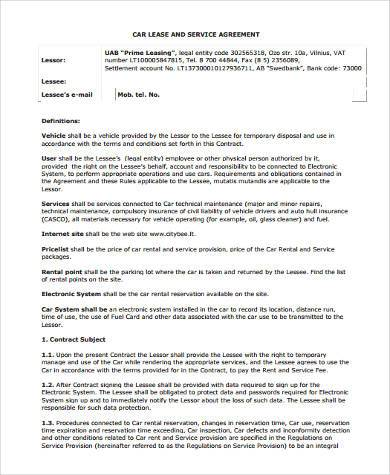 Car Lease Form car lease agreement template free rental lease