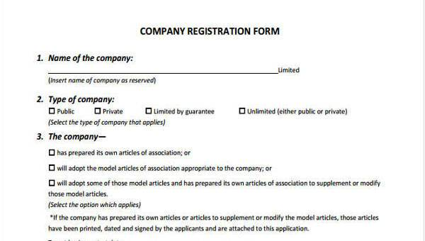 Sample Company Registration Forms - 7+ Free Documents in Word, PDF