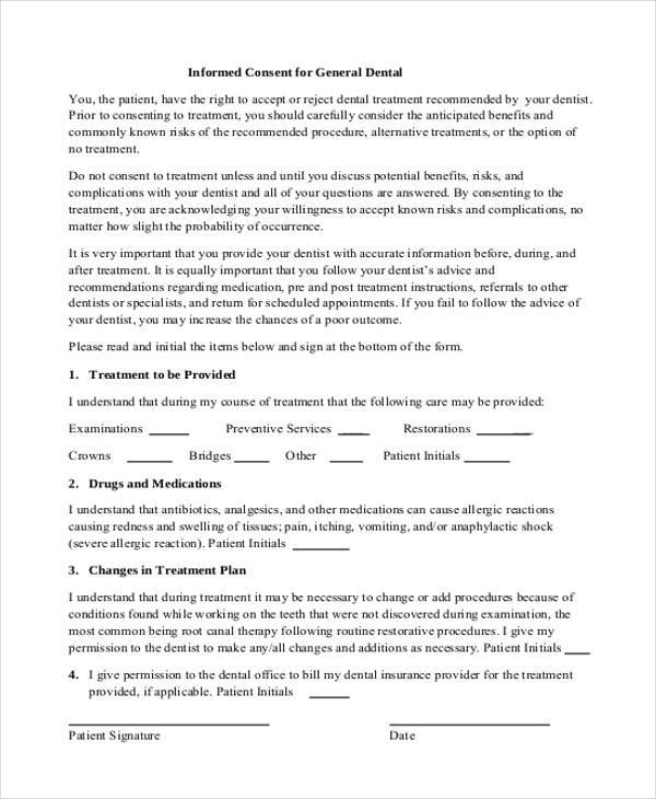 7+ Dental Consent Form Samples - Free Sample, Example Format Download - research consent form template